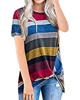 AMCLOS Womens Tops Striped T-Shirts Front Knot Side Twist Tunic Casual Cold Shoulder Blouses Long/Short Sleeve (A-Red, S)