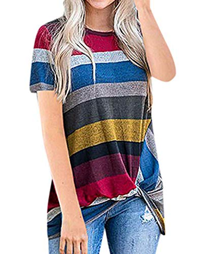 (Women's Crewneck Stripe Color Block Long Sleeve Tops T Shirts Tees Blouses with Knot Front (L, Red)