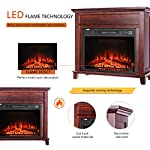 VIVOHOME 32 Inch Wide Electric Fireplace with Wood Frame, Insert Freestanding Portable Heater Stove with Remote Control by VIVOHOME
