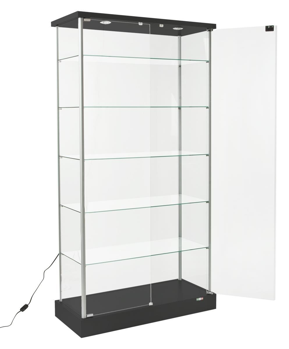 Displays2go Full Vision Showcase, Laminated MDF in Woodgrain, Tempered Glass, Top Lights – Black, Silver (193CPLEDBV)