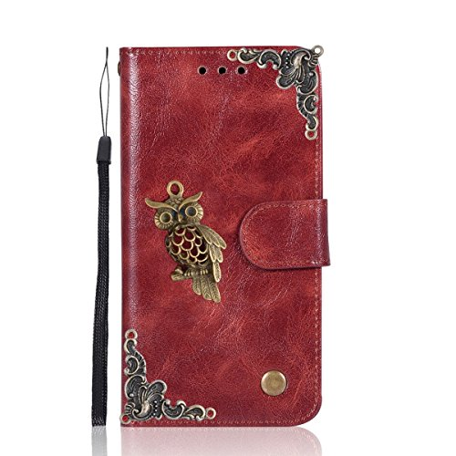 (LG K10 Case,Gift_Source [Owl Series] [Wrist Strap] Vintage Wallet Phone Case Flip PU Leather Purse Folio Stand Feature Cover with ID&Credit Card Pockets for LG K10/Premier LTE (2016) [Wine Red])