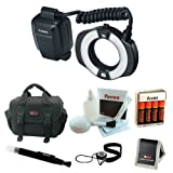 Canon MR-14EX II Macro Ring Lite with Rechargeable NiMH AA Batteries with Charger + Camera Accessory Kit