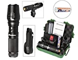 PHIXTON PeakPlus Super Bright LED Tactical Flashlight Zoomable Adjustable Focus 5 Modes Water Resistant Torch with Rechargeable 18650 Lithium Ion Battery & Charger