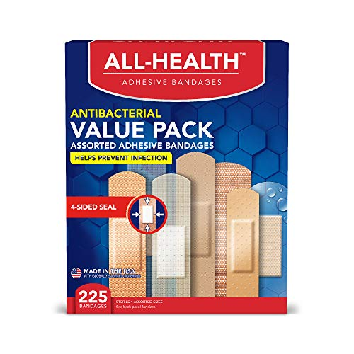 All-Health Antibacterial Bandage Value Pack, Assorted Sizes, 225 Count by All Health