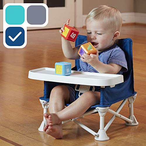 hiccapop Omniboost Travel Booster Seat with Tray for Baby | Folding Portable High Chair for Eating, Camping, Beach, Lawn, Grandma's | Tip-Free Design Straps to Kitchen Chairs - Go-Anywhere High Chair from hiccapop