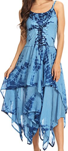 Sakkas 902 Annabella Corset Bodice Handkerchief Hem Dress - Blue - One Size -