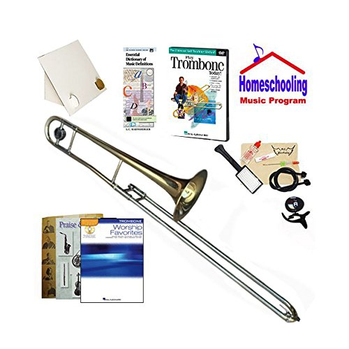 RS Berkeley Homeschool Music Pack for Beginner Trombone - (Praise & Worship Music Book Bundle) - Includes Student Trombone w/Case, DVD, Books & All-Inclusive Learning (Worship Trombone)