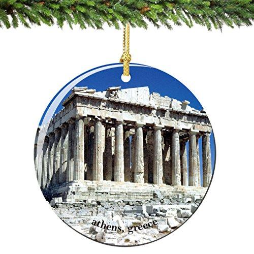 City-Souvenirs Acropolis Parthenon Athens Greece Christmas Ornament Porcelain 2.75 Inch Double Sided Parthenon Christmas -