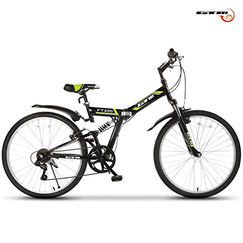 Fantastic Deal! GTM 26 7 Speed Folding Mountain Bike Shimano Hybrid Bicycle Green