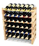 30 bottle wine rack - Modular Wine Rack Beechwood 24-72 Bottle Capacity 6 Bottles Across up to 12 Rows Newest Improved Model (36 Bottles - 6 Rows)