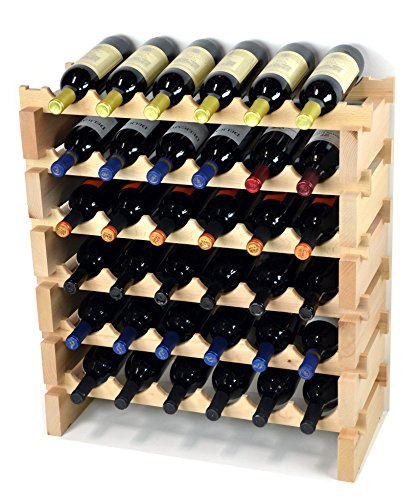 Modular Wine Rack Beechwood 24-72 Bottle Capacity 6 Bottles Across up to 12 Rows Newest Improved Model (36 Bottles - 6 Rows)