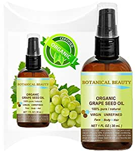 ORGANIC GRAPE SEED Oil. 100% Pure / Natural / Undiluted /Certified Organic Cold Pressed Carrier Oil for Skin, Hair, Massage and Nail Care.