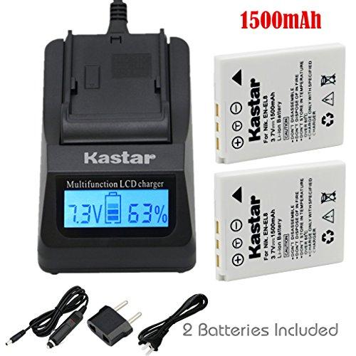 Kastar Fast Charger Kit and Battery (2-Pack) for EN-EL8 MH-62 and Nikon Coolpix P1 P2 Coolpix S1 S2 S3 S5 S6 S7 S7c S8 S9 Coolpix S50 S50c Coolpix S51 S51c Coolpix S52 S52c Cool-Station MV-11 MV-12