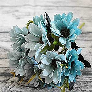 Bling-Bling Case 10Heads/1Bundle Silk Daisy Bride Bouquet for Christmas Home Wedding Year Decoration Fake Plants Sunflower Artificial Flowers,Gray Blue 4