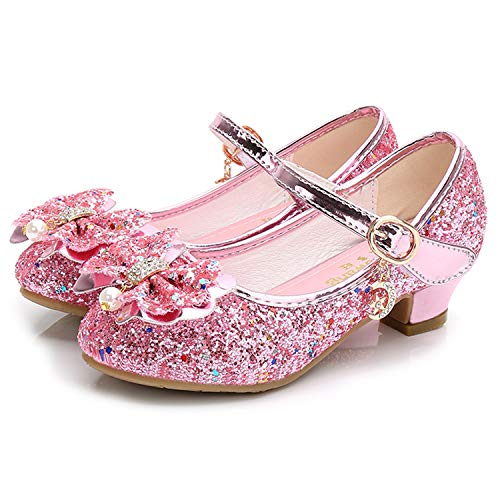Waloka Big Girls Mary Jane Glitter Shoes for