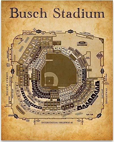 Busch Stadium Seating Chart - 11x14 Unframed Art Print - Great Sports Bar Decor and Gift Under $15 for Baseball Fans