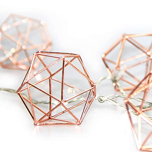 E-lip Geometric Lights, 9.8FT 20 LEDS Rose Gold Metal LED Fairy Lights with Remote Control, Battery Power Boho String Lights for Bedroom, Party, Banquet, Wedding Decoration(Warm Light)