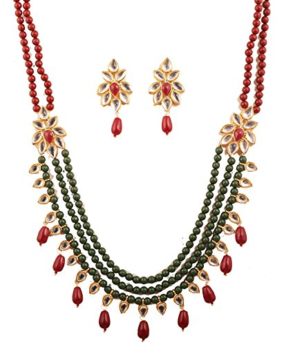 - Touchstone New Contemporary Kundan Collection Indian Bollywood Mughal Era Inspired Grand Kundan Look Faux Ruby Designer Jewelry Necklace Set Strung with Red Green Beads Identical Red Onyx Drops in