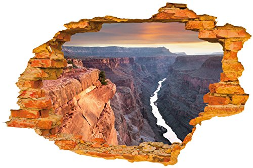 Wall Sticker (Bring Grand Canyon Home) - Broken Wall / Hole in the Wall / Smashed Wall 3D Look - Wall decor for Bedroom / Living Room / Kids Room - Peel and Stick DIY - Self Adhesive Vinyl Decal (Canyon Tile Flooring)