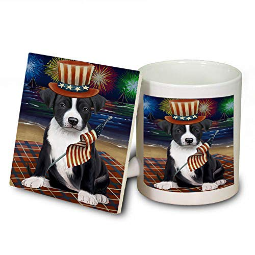 4th of July Independence Day Firework American Staffordshire Terrier Dog Mug and Coaster Set MUC52387 (Independence Safe Coasters Dishwasher)