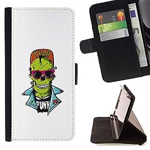 Momo Phone Case / Flip Funda de Cuero Case Cover - Cráneo punky del zombi - Samsung Galaxy A3