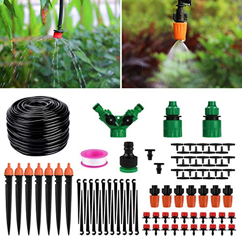 Garden Sprinkler System - Homga Irrigation System Kit, 130ft/40M Drip Irrigation DIY Plant Garden Hose Watering Kit Garden Irrigation Micro Sprinkler Shrub Drip Kit Garden Irrigation for Landscape, Flower Bed, Patio Plants