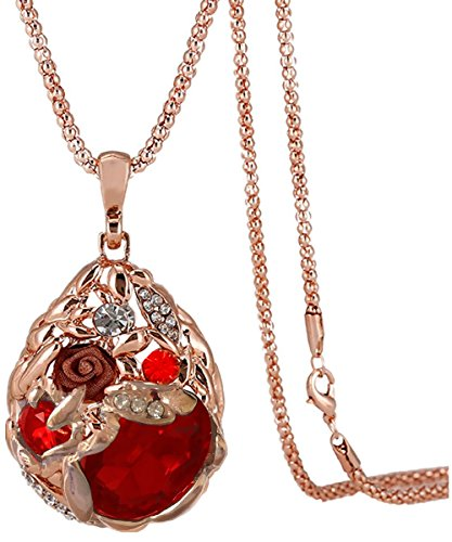 [Calors Vitton Rose Gold Plated Flower Water Drop Crystal Long Sweater Chain Pendant Necklace Red 15] (Difference Between Fashion Jewellery And Costume Jewellery)