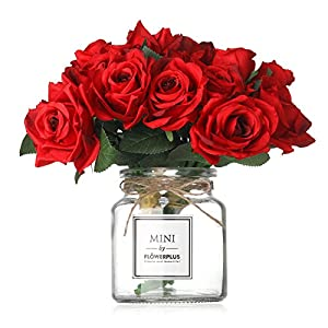 Missblue Artificial Rose Flowers with Vase,FakeSilk Red Bouquet with Glass Jar Home Rope for Wedding Proposal Bride Home Decoration and The Best Gift, Red 64