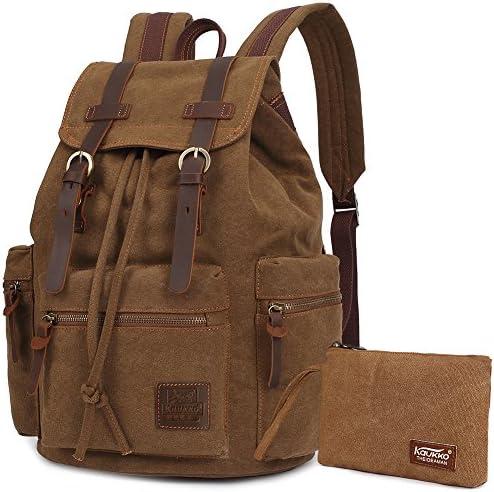 Vintage Rucksäcke,Kaukko Canvas Laptop Rucksack Damen Herren Schulrucksack Daypack Stylisch Backpack für Outdoor Wanderreise Camping mit Großer Kapazität (Khaki T02)