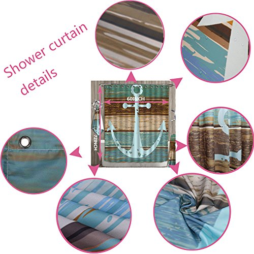 high-quality PRUNUS Designer Bath Polyester 5-Piece Bathroom Set,TeenagerYoung Theme Design with Scater Boy and Rainbow Colores Swirls Borders Print bathroom rugs shower curtain/rings and Both Towels(Medium size)
