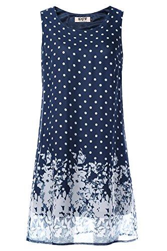 DJT FASHION Juniors Dresses, Women's Summer Chiffon Sleeveless Party Dress Medium Navy Polka Dot - Navy Polka Dot Sundress