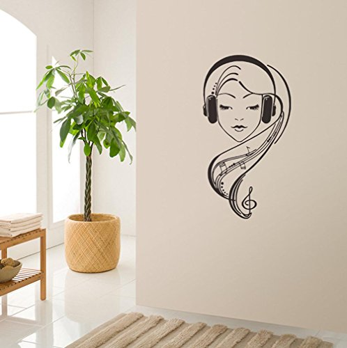 BIBITIME Music Staff Wall Decal Dancing Musical Notes Wallpaper Vinyl Sticker for Living Room Bedroom Window Nursery Kids Room Decor Mural (DIY, Listening Music Girl) (Wallpaper Border Musical)
