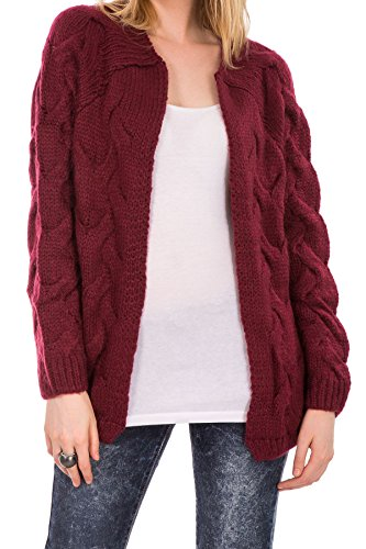 Hidden Fashion Womens Ladies Burgundy Cable Stitch Knitted Open Front Cardigan [BURGUNDY_12]