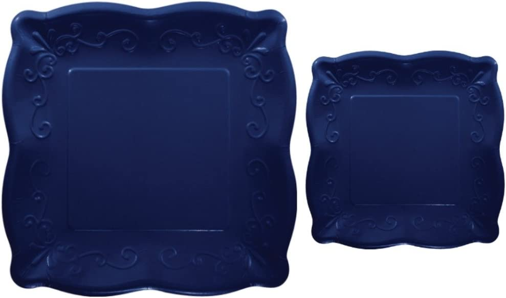 Scalloped Embossed Square Premium Paper Plates: Bundle Includes Dinner Plates and Appetizer/Dessert Plates for 8 Guests (Navy)