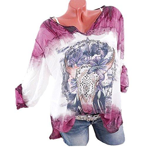 Mode Femmes V Manches S Chemisier Femme Taille Xinantime Violet Longues Cou Grande 5XL Blouse Ample Impression 4dwCqCx