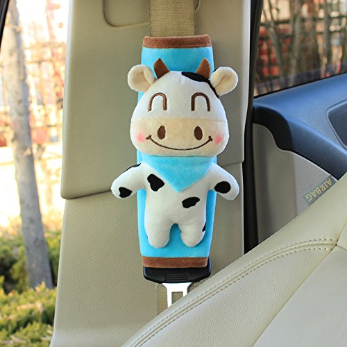 COGEEK Lovely Children Cartoon Omobile Safety Car Seat Belt Shoulder Pad Cover For Car Accessories (cows)
