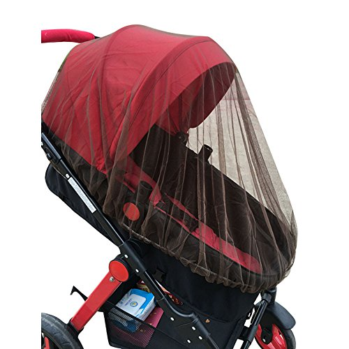 Birdfly Infant Toddler Baby Protect Stroller Double Mosquito Net Bug Netting Cover (Coffe)