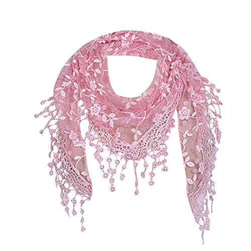 (Hot Sale! iYBUIA Women Lace Sheer Floral Scarf Shawl Wrap Tassel)
