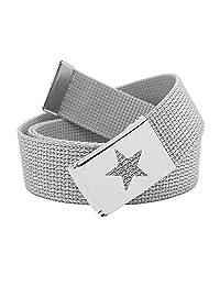 Girl's Star Silver Flip Top School Uniform Belt Buckle with Canvas Web Belt