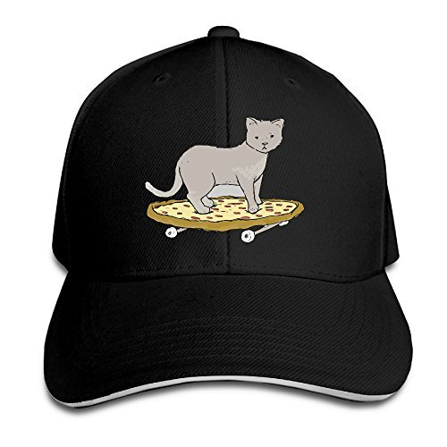 (Cat On Pizza Skateboard Sandwich Cap Comfortable Hat Black)