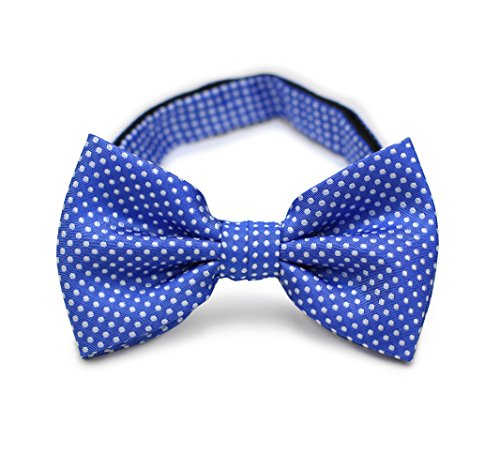 Bows-N-Ties Men's Pre-Tied Bow Tie Pin Dot Microfiber Adjustable Satin Bowtie (Horizon Blue) ()