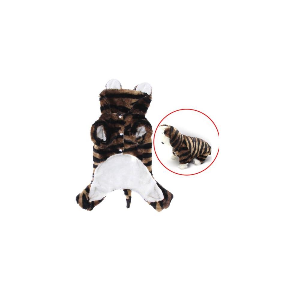Pet Dog Tiger Print Costume Hoodie Hooded Coat Jumpsuit (S)