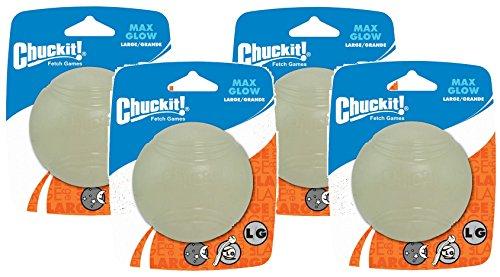 (4 Pack) Chuck IT! Lightplay Max Glow Balls Large (Lacrosse Glow In Dark Ball)