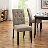 Beautifuly Designed Tufted Dining Chair, Taupe, Easy to Assemble, Leaving You Stress Free, Soft Camel- Back Design, High-Density Foam