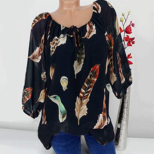 Floral en Femme Blouse Femmes Mode Trois Pas Femme Imprim Chic Col V EU T Shirt Femme Ulanda Quarts Lache Shirt Top Chemisier Tee Noir Casual Tunique Shirt Cher Tops Vetement w70Uqng