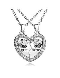 Rhinestone Best Friends Animal Engraved Split Heart Friendship Necklace Set of 2