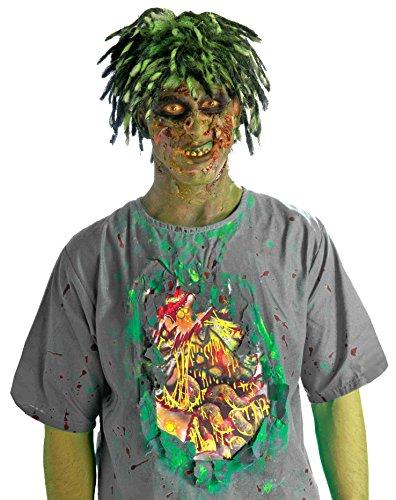 Bio Zombie Costumes Wig (Forum Novelties Men's Biohazard Zombie Shirt with Guts, Multi, One Size)