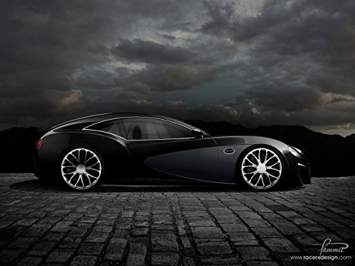 Bugatti Type 12-2 Streamliner Concept by Racer X Design (2008) Car Art Poster Print on 10 mil Archival Satin Paper Black Side Illustration View 24