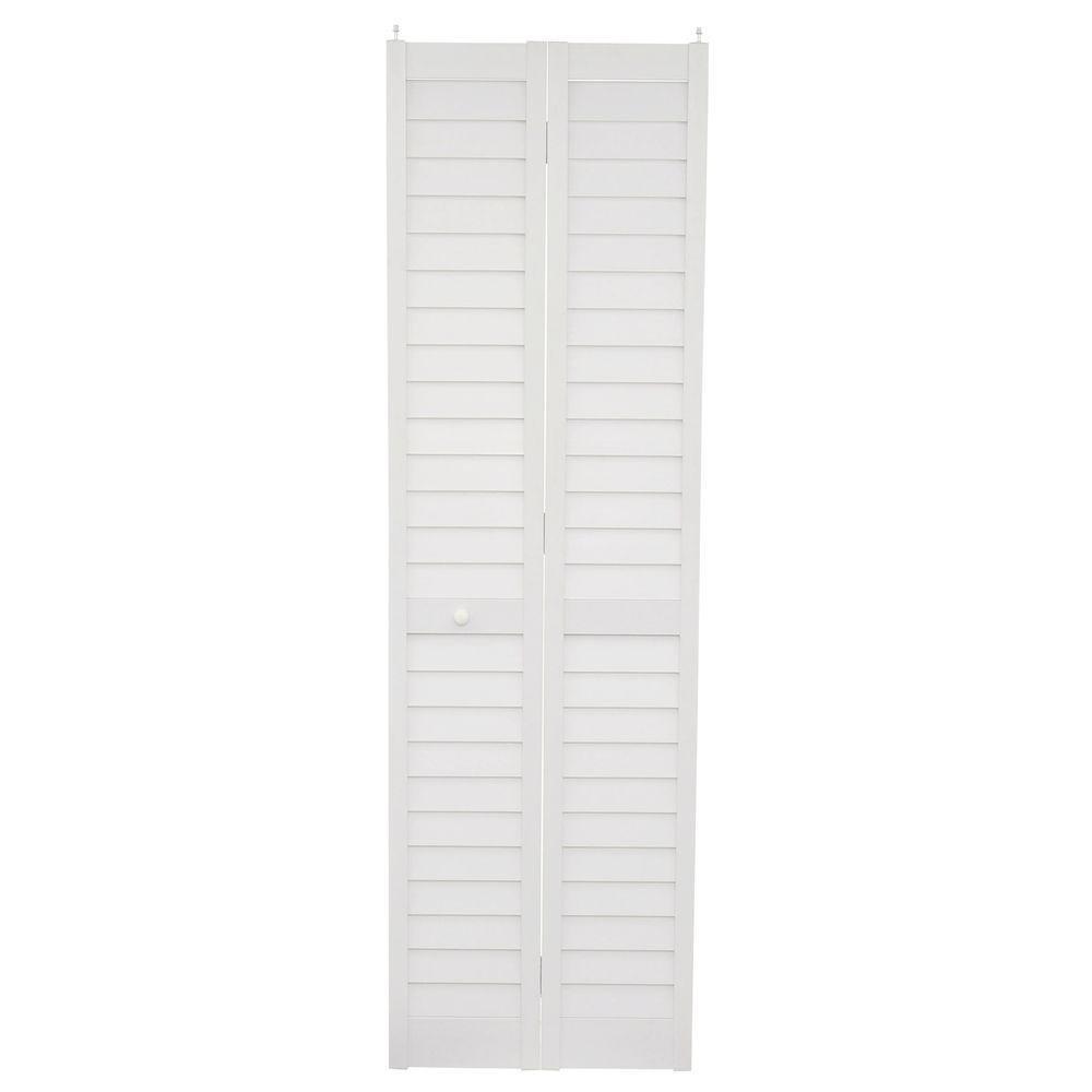 Home Fashion Technologies Plantation 3 in. Louver/Louver White 24 in. x 80 in. Bi-Fold Composite Door