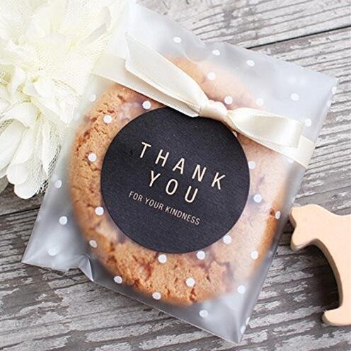 White Dot Self Adhesive Plastic Treat Bag Cookie Bags for Gift Giving 200 Bags+200 Thank You Labels. (4x4 inch, 200 ()